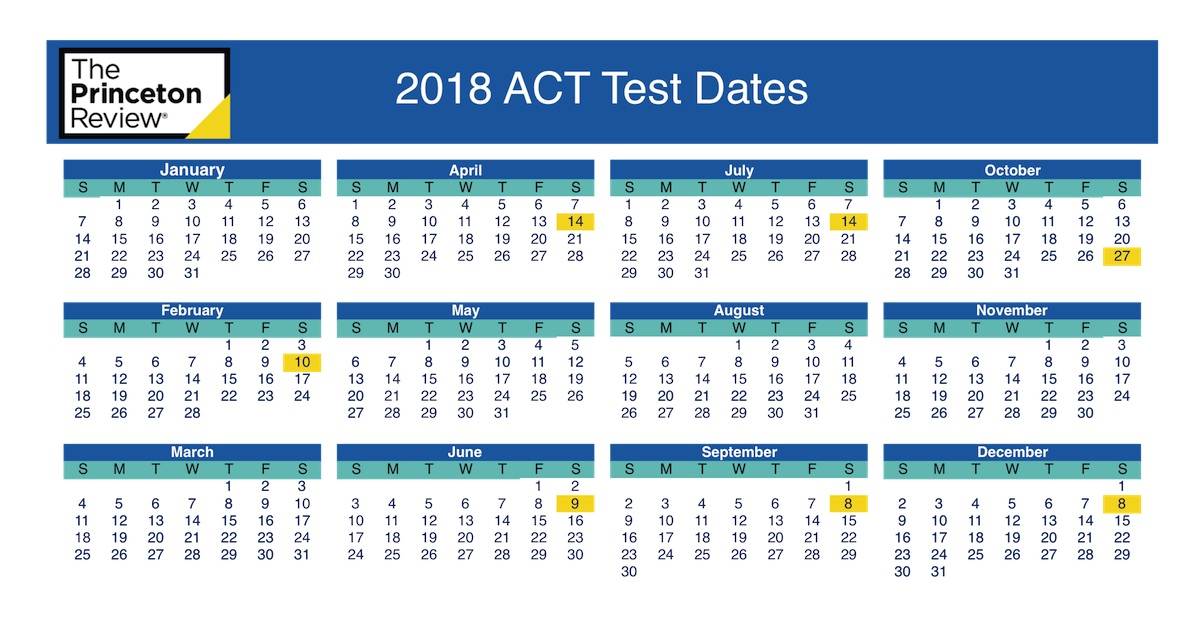 Act Calendar 2019 ACT Test Dates | The Princeton Review