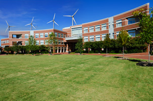 Windmills behind campus building